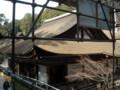 長命寺 三重塔(葺き替え工事中)から見た本堂