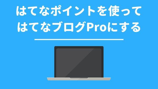 はてなポイントを使ってはてなブログProにする