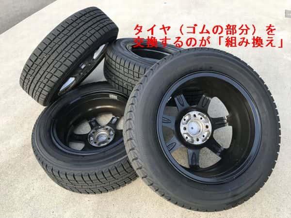 タイヤ交換ゴムの部分を交換するのが組み換え