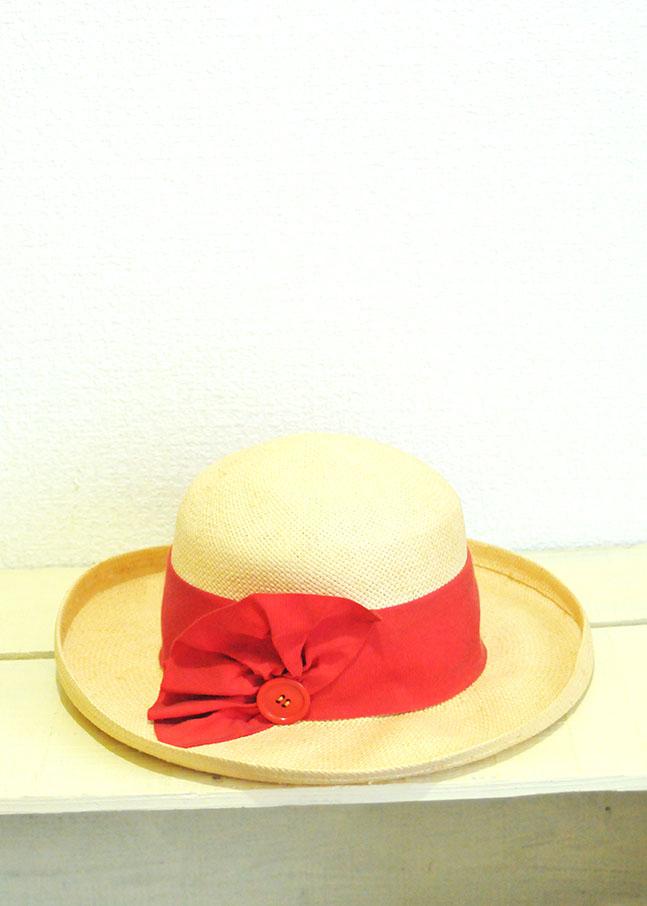ビンテージ赤いリボンの麦麦わら帽子