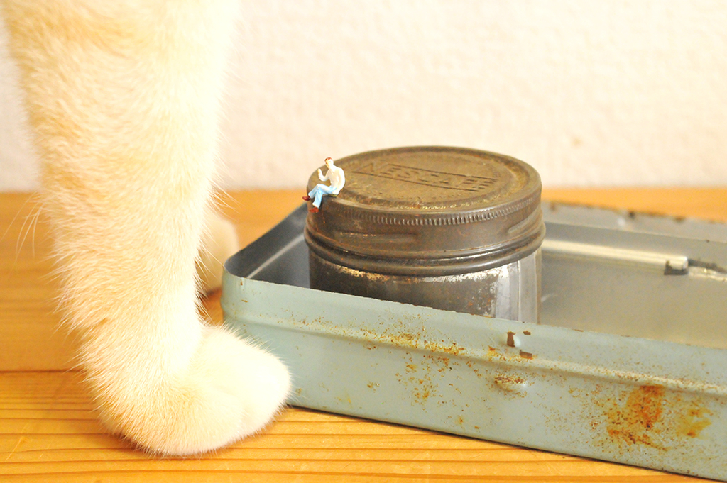 リサイクルショップでお土産用に買った錆びた古い缶2つと猫の足