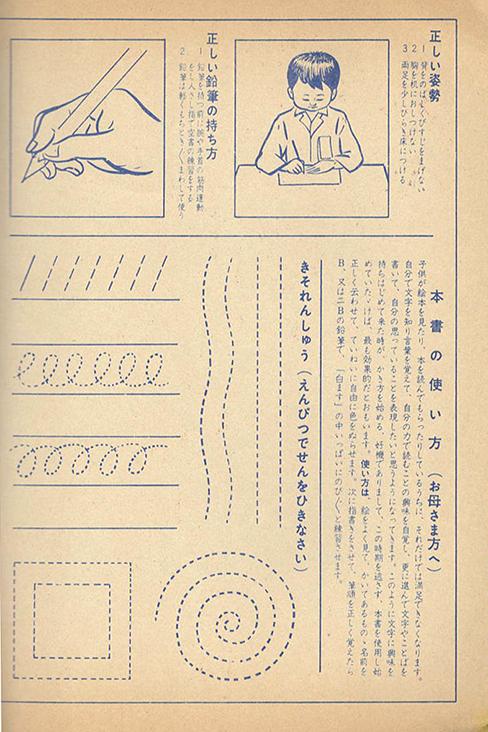 ノートを開くと文字を書く姿勢や基本的な鉛筆の使い方の説明が書いてある