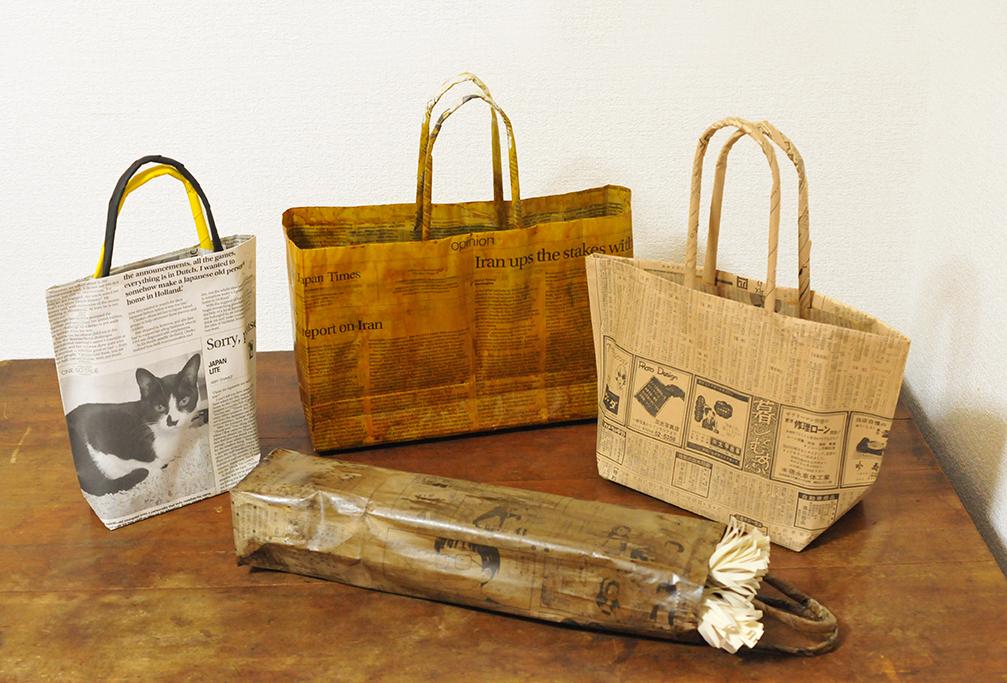 DIY新聞紙で作ったバッグたちはシックでオシャレでデザインも様々