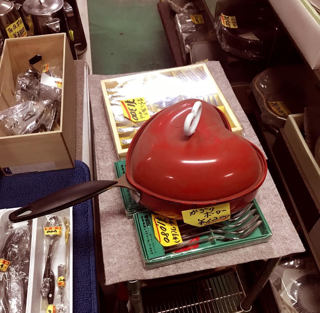 赤いハート型の可愛いホーロー鍋はジャンク品だが欲しくなる
