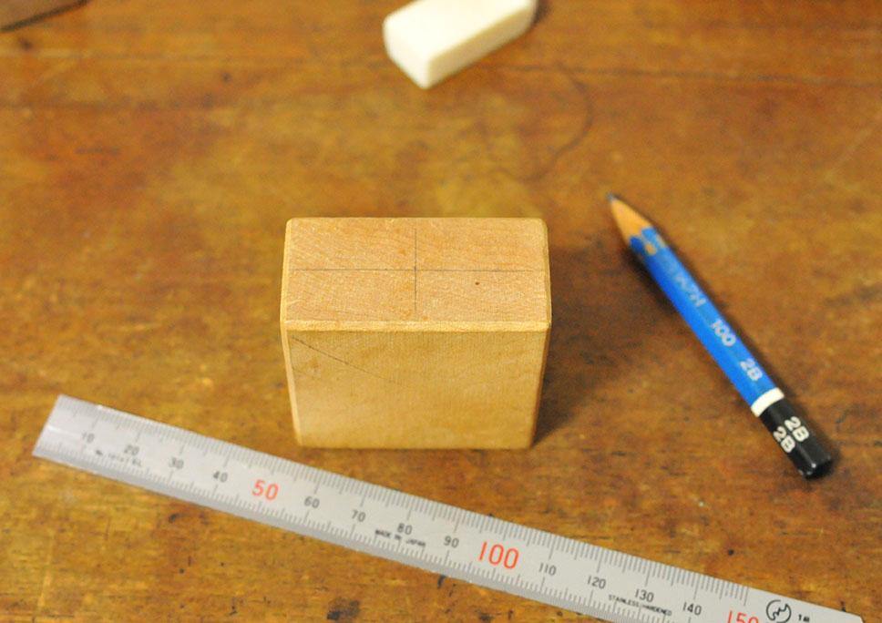 積み木リメイクDIY工作ー穴の位置を決める-ふるものせいかつ図鑑