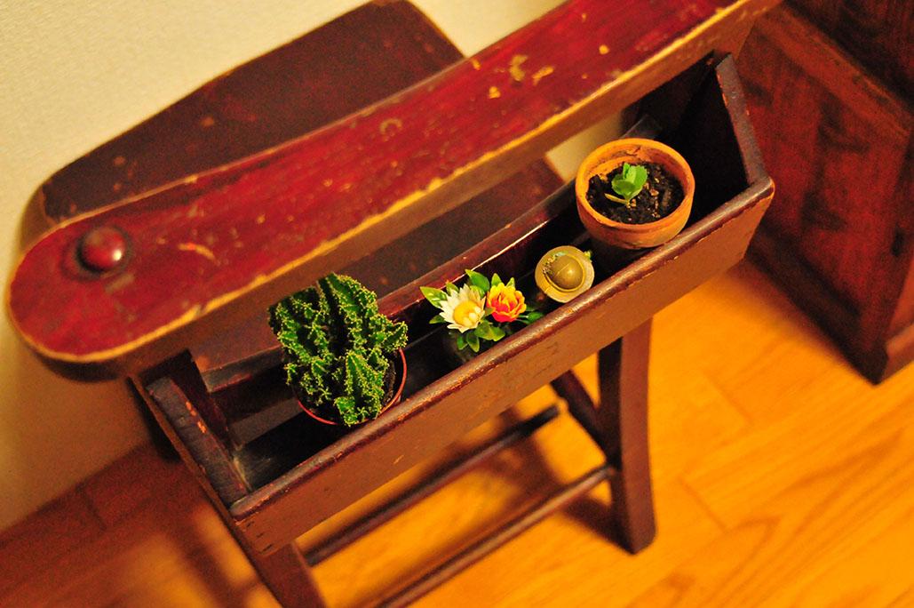古道具のチャーチチェアのポケットに植物をディスプレイ-ふるものせいかつ図鑑