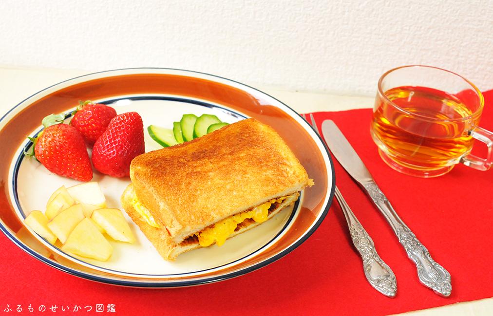 50円レトロ皿はワンプレートの朝食用としても活躍中