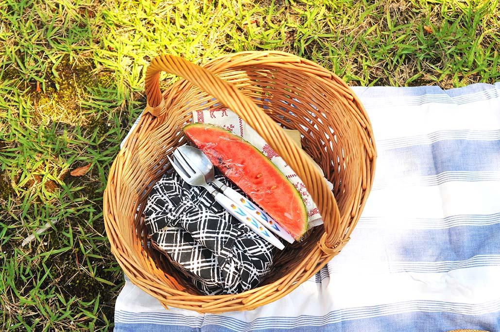 500円カゴにお弁当をつめてアウトドアピクニックへ
