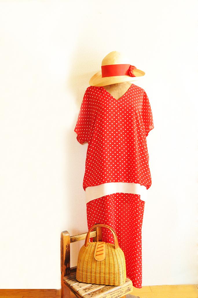 帽子、バッグなどオール中古品のレトロ古着ファッション