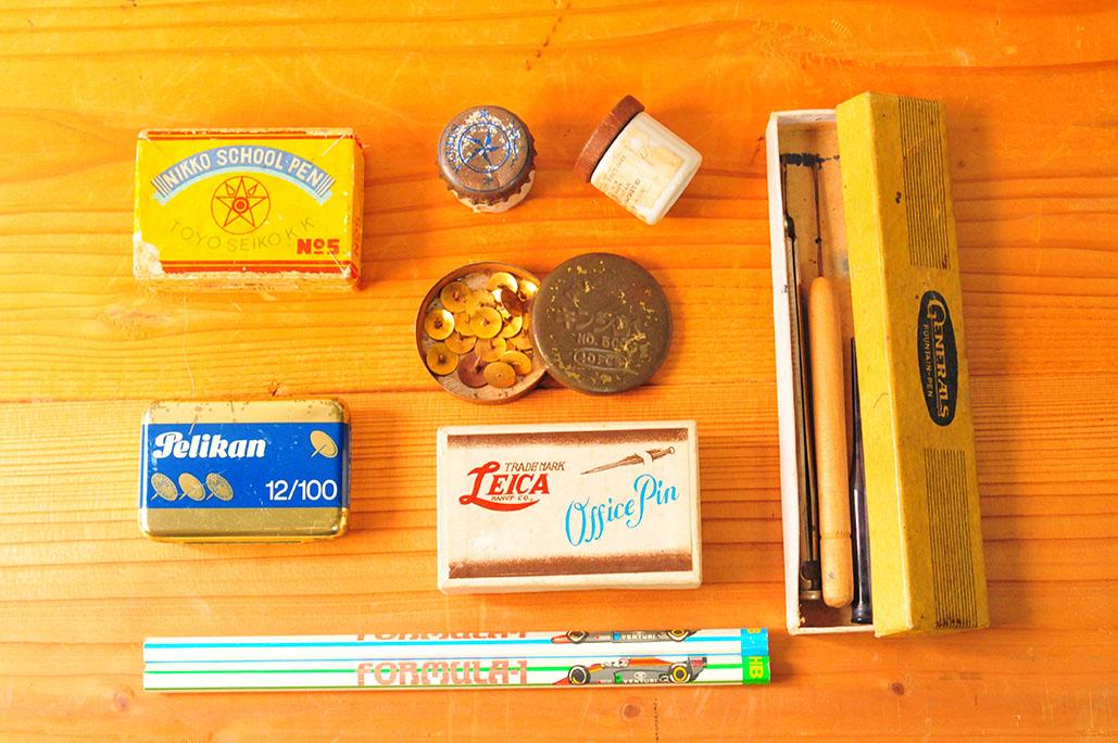 古物を集めて揃えた文房具達はとっても昭和レトロ
