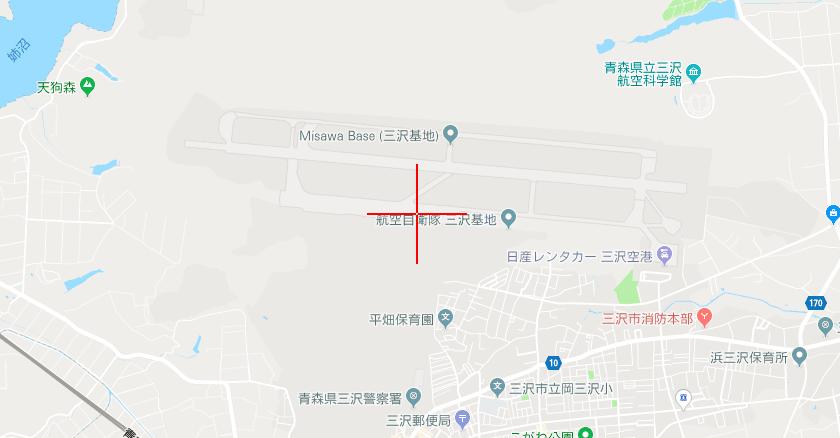 三沢基地(北緯40度42分/東経141度22分)
