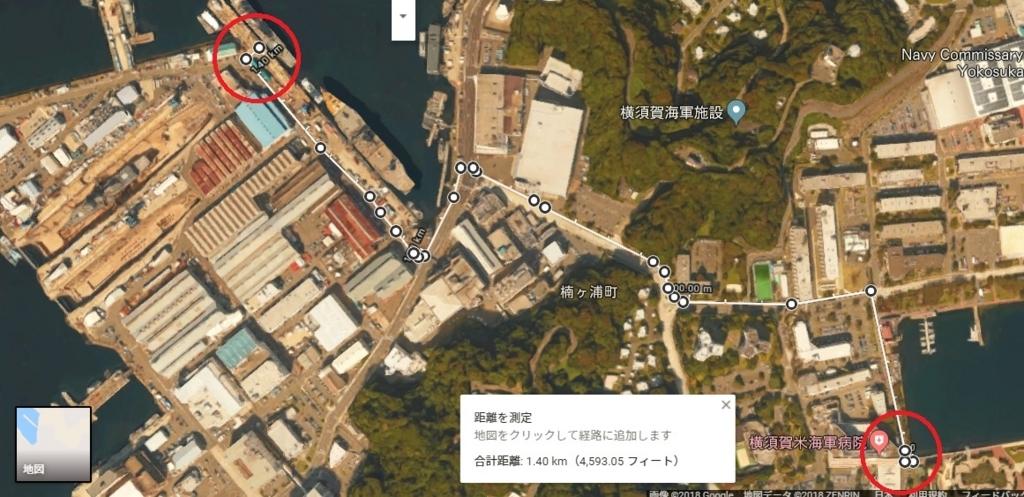 三笠公園内ゲートから艦船見学バースまで約1.4km