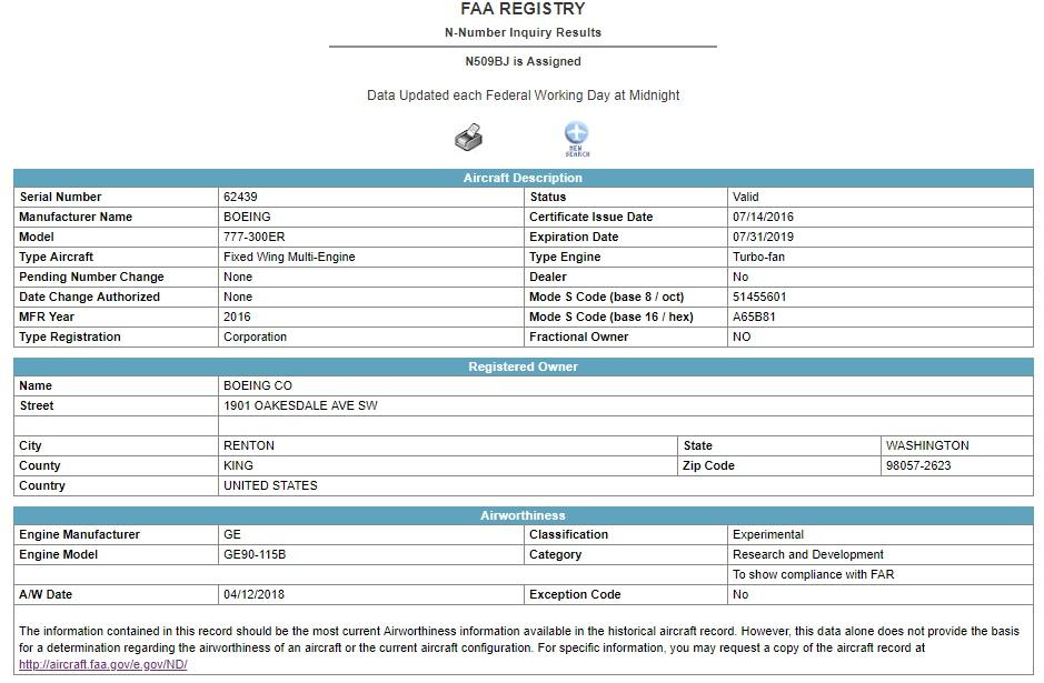 機体登録番号:N509BJ(アメリカ連邦航空局「FAA」データベースより)