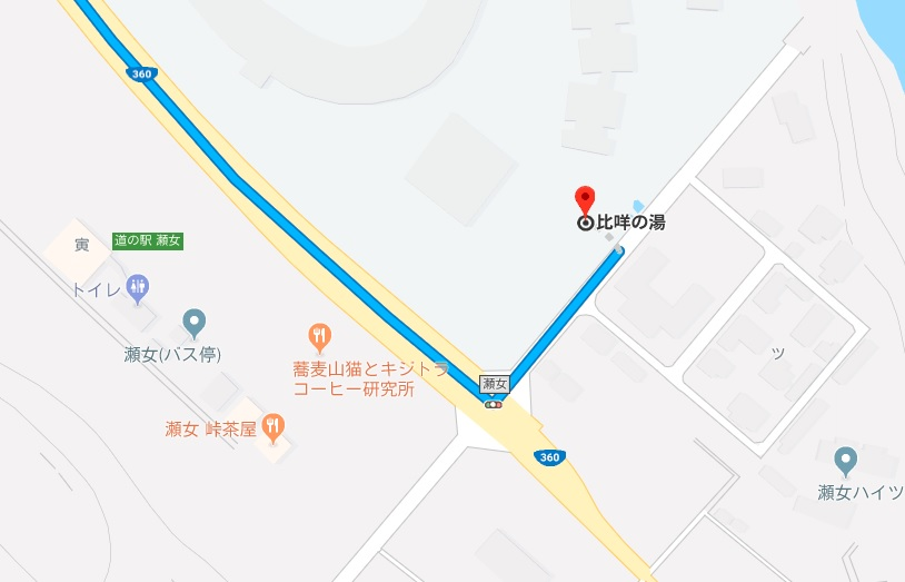 「瀬女」交差点を左折(Google Map)