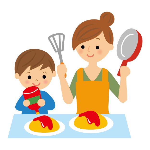 子供と一緒に夕飯の支度