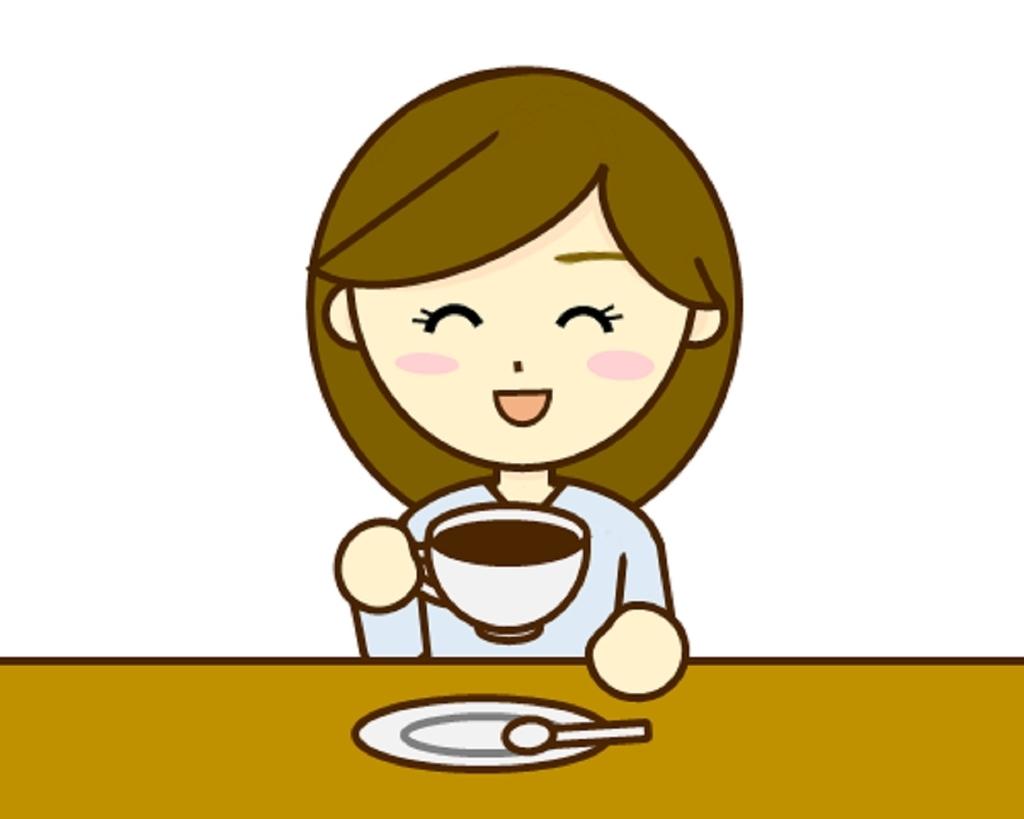 大好きなコーヒーを飲んでリラックスするふわり