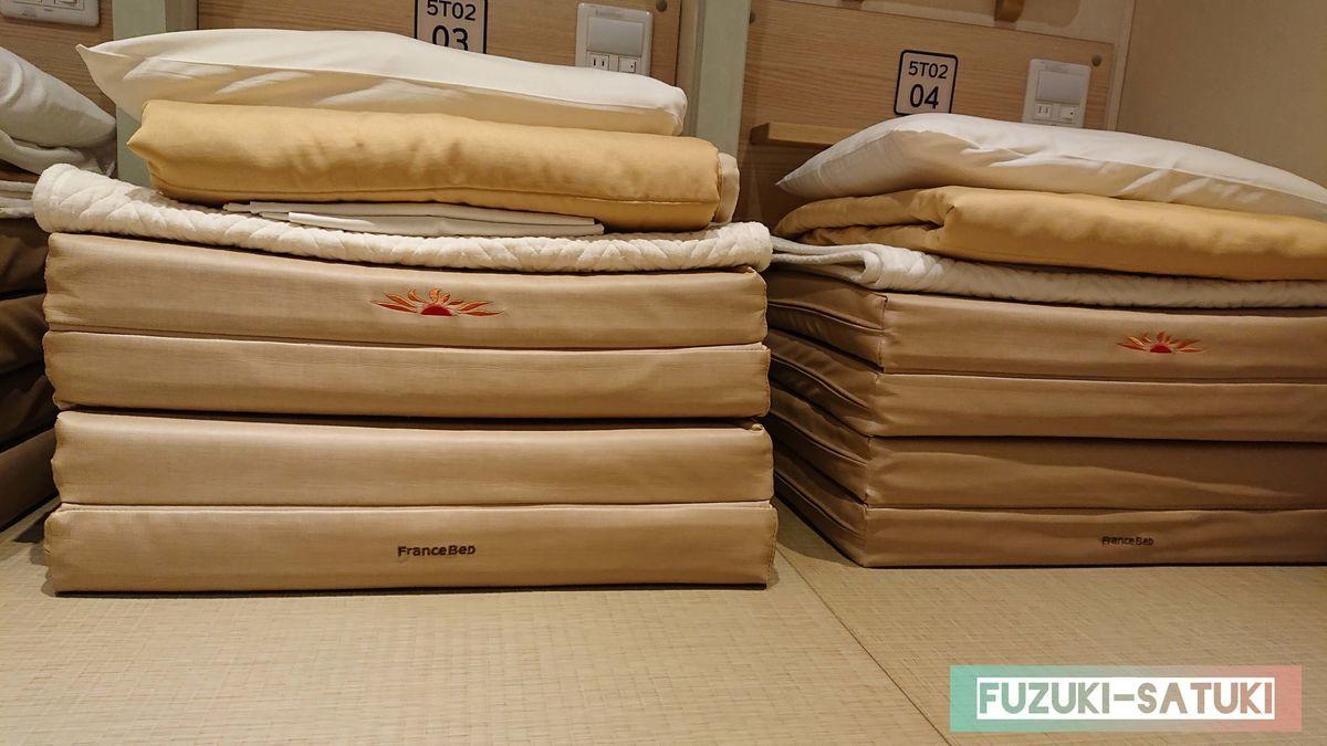 客室ツーリストの寝具の写真