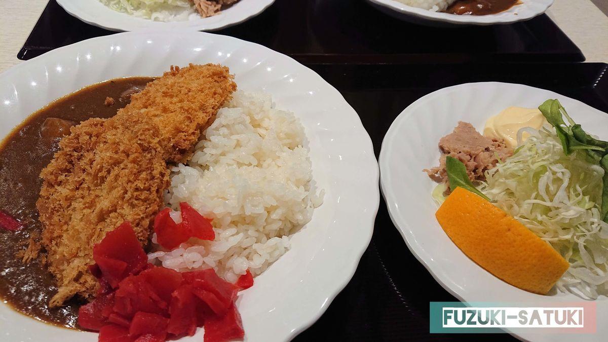 カツカレー定食(カツカレーとサラダ)の写真
