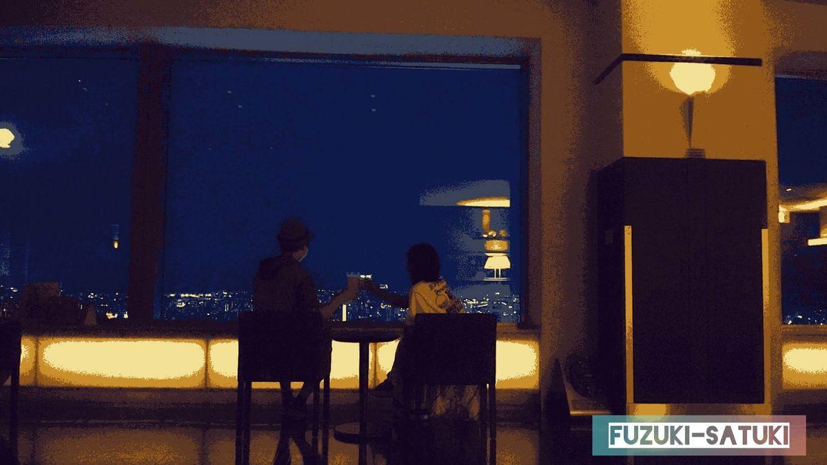夜景と共に、ふづきとさつきの写真