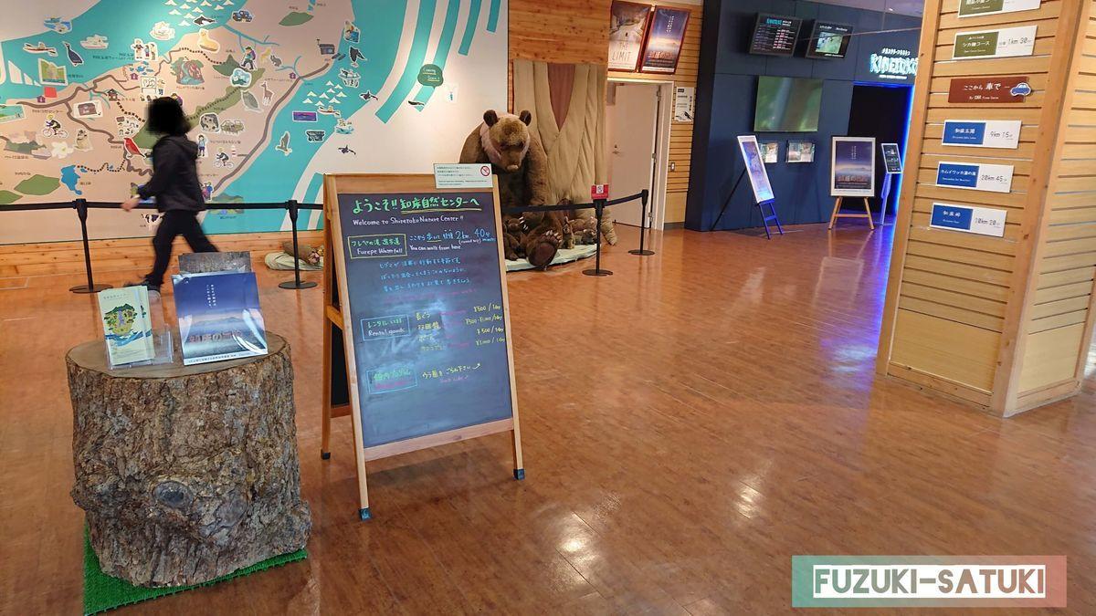 知床自然センター館内、広々としていて、写真には写っていないがカフェやミニギャラリーなどがある。
