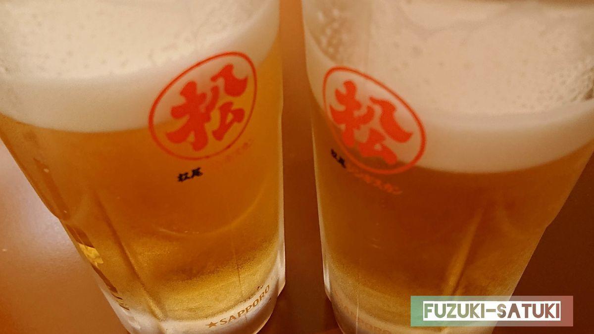 松尾のジョッキで飲む生ビールは格別