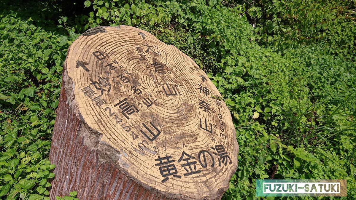黄金の湯の切株に、神奈山、大倉山、妙高山の標高と方角が示されている