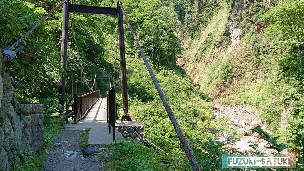 橋に近づく。河原の湯はこの辺りだろうか