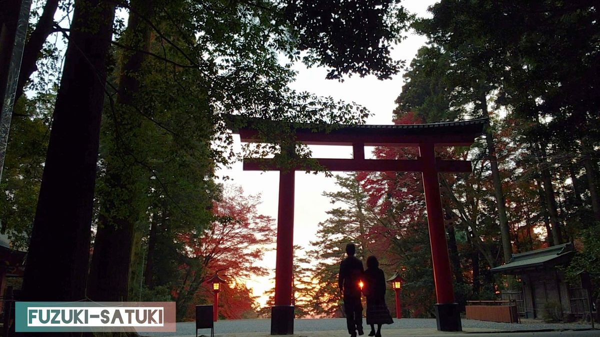 ふづき と さつき 霧島神宮 鳥居と夕陽と