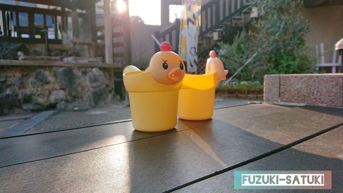 霧島温泉市場にある足湯の片隅に、誰かが並べたと思われる黄色いアヒルのおもちゃ2個