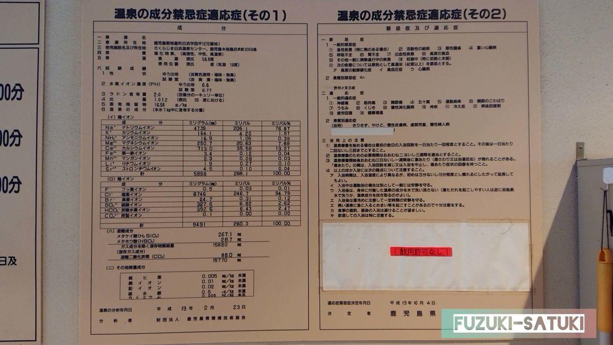 白浜温泉センターの温泉成分禁忌症適応症(その1)(その2)、泉質:塩化物泉、泉温:58.6℃など書かれている