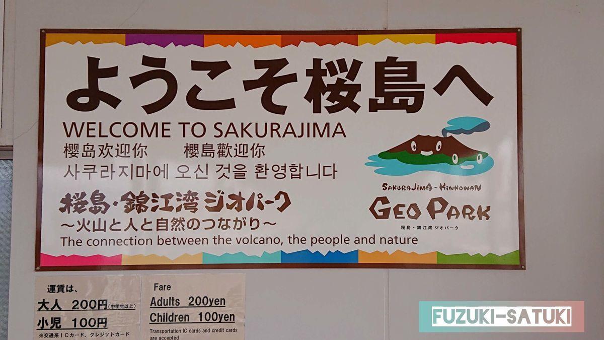 ようこそ桜島へ と書かれている看板。桜島・錦江湾ジオパークとも書かれている。
