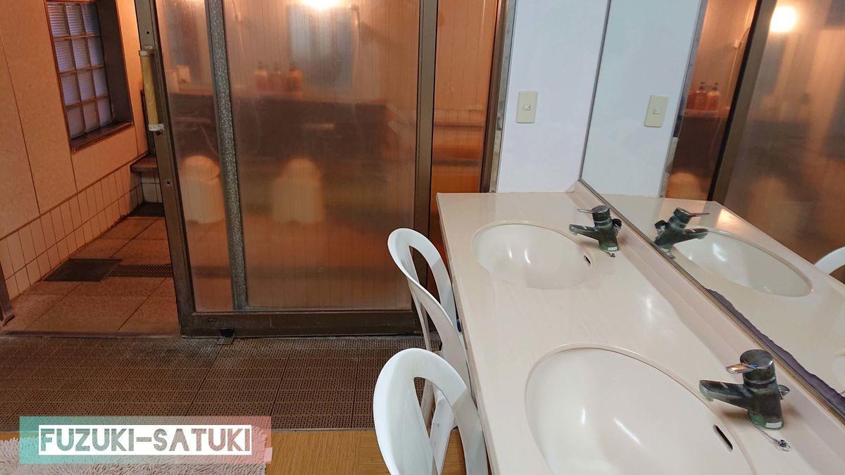 桜島マグマ温泉の貸切風呂、白を基調とした洗面所と4畳ほどの脱衣所、ガラスの引き戸から見える洗い場。バリアフリーとなっていて、浴槽以外段差はなく、背もたれのあるシャワーチェアーや手すりが多くあるトイレも備え付けられている。