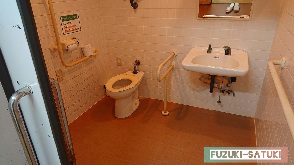 桜島マグマ温泉の貸切風呂にあるバリアフリーの広いトイレ。手すりが多く安心感がある