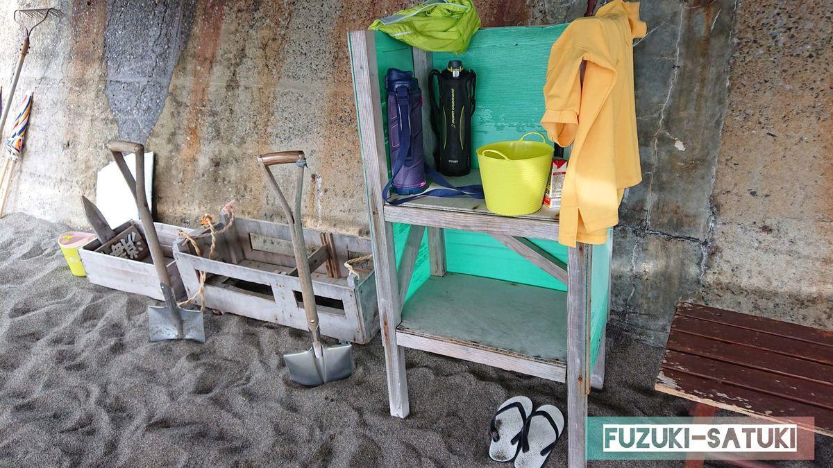 山川砂むし温泉『砂湯里』のスタッフの砂堀道具等