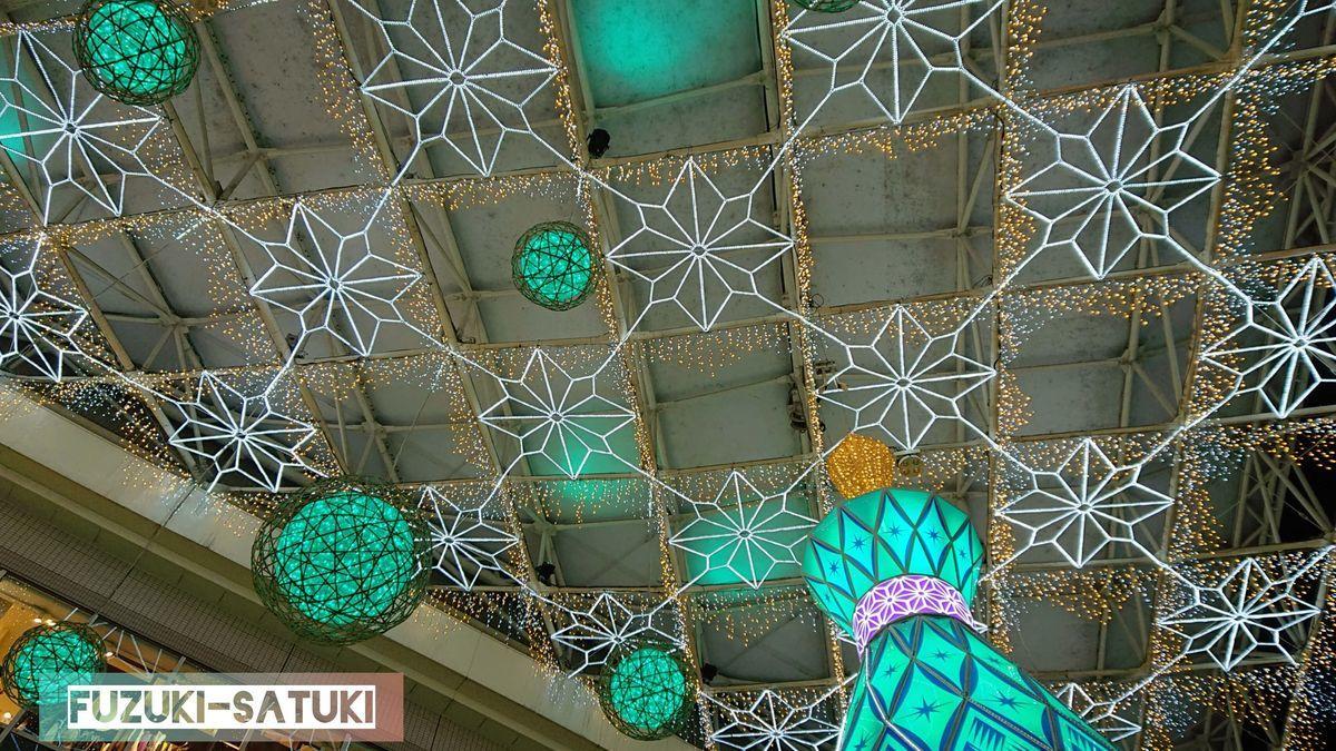 鹿児島中央駅の12月のクリスマスイルミネーション。