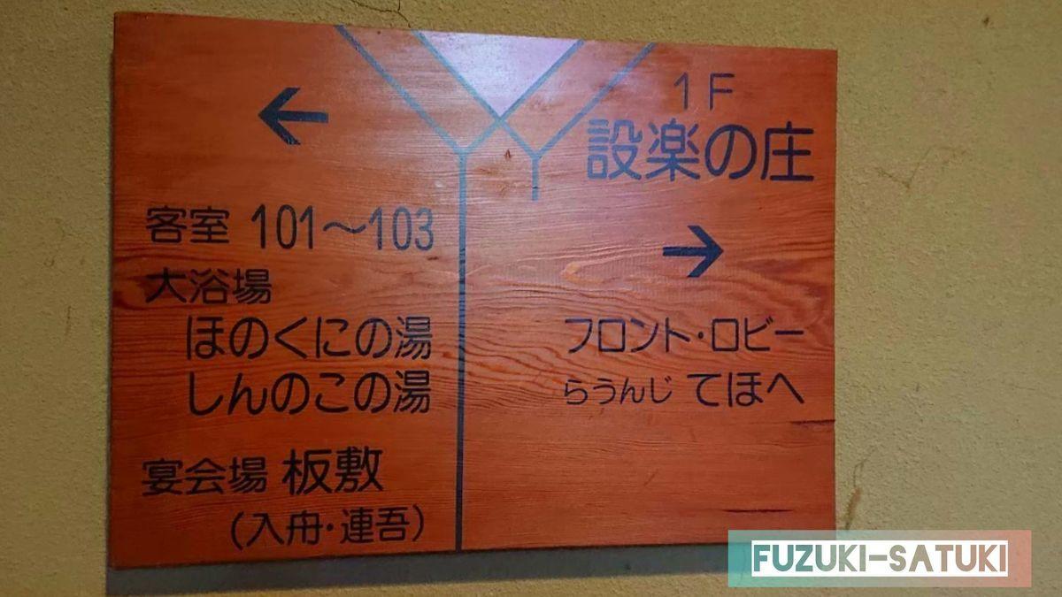 湯谷観光ホテル泉山閣の廊下にある案内板 客室や大浴場の方向を示している。