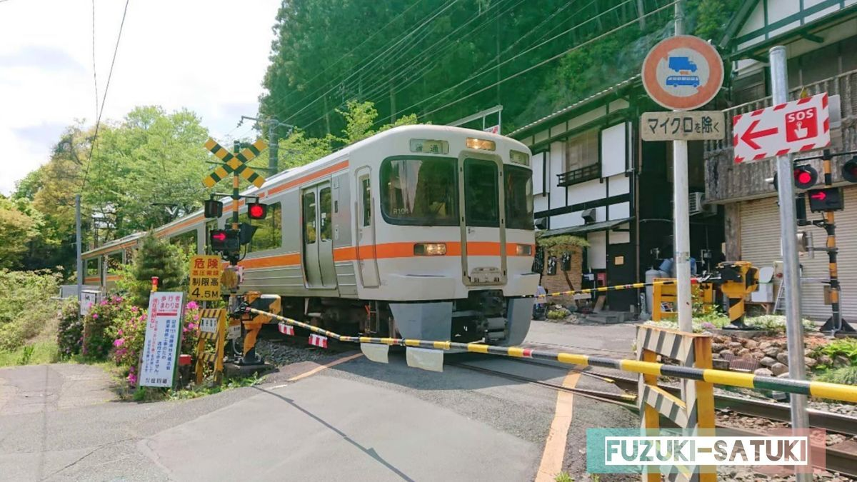 湯谷温泉街にある踏切にて。電車が通過する。
