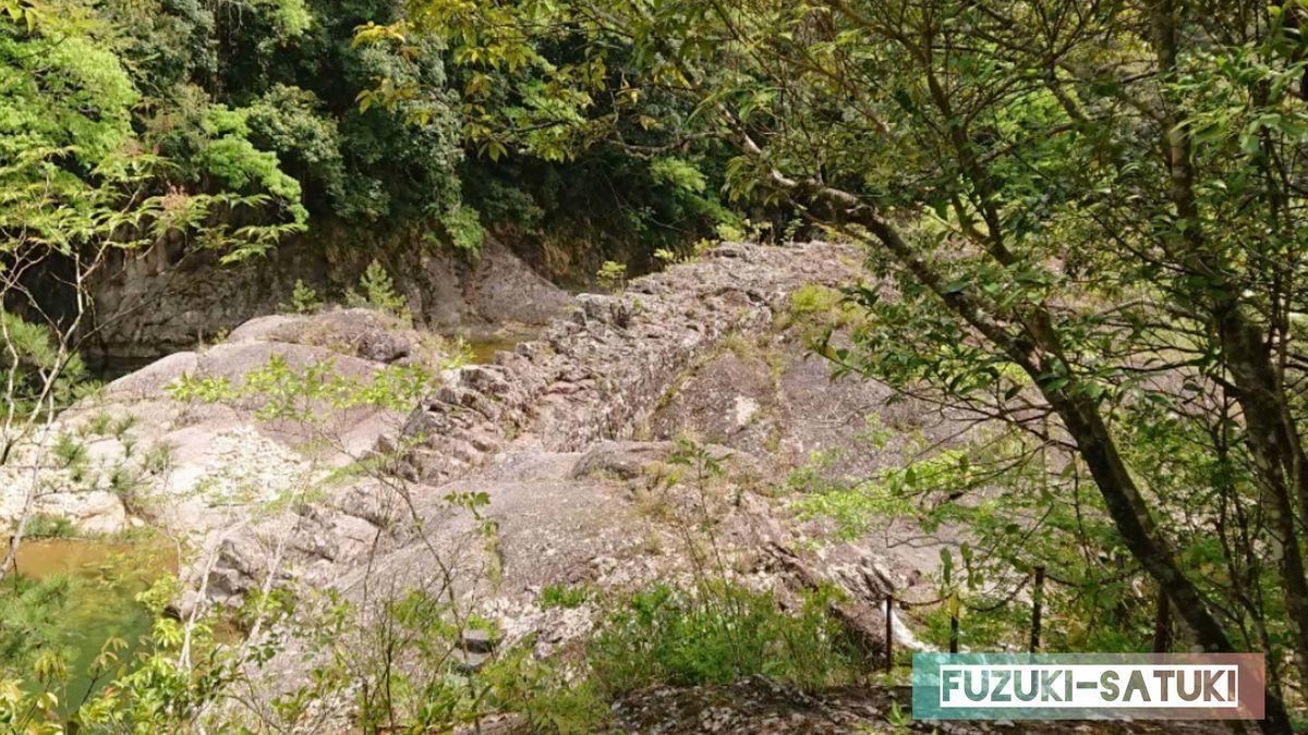 国指定天然記念物 馬背岩 馬の背中のように、岩が隆起しているのが分かる。