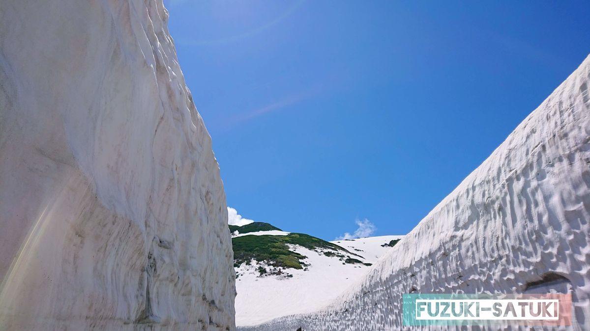 雪の大谷から臨む青空と陽射し。自然界の色のタッチに感銘を受ける。