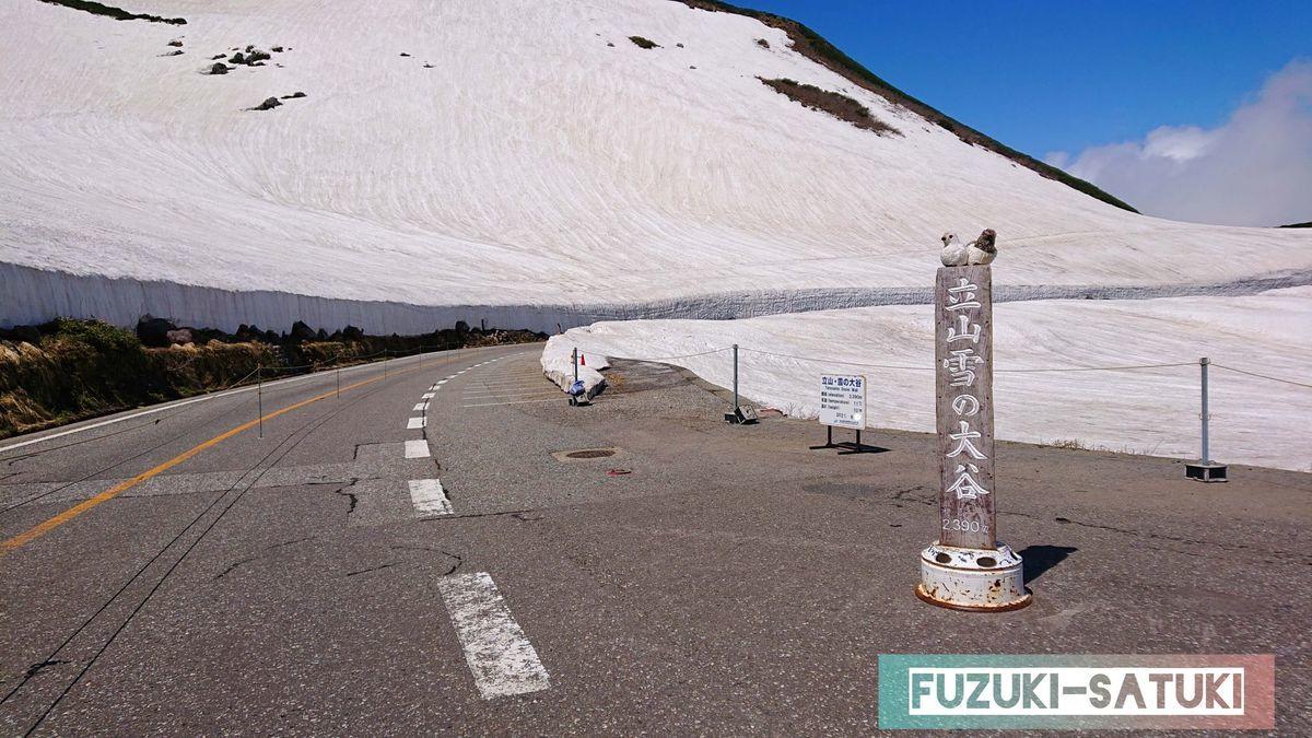 2021年6月 雪の大谷への入り口の様子。気温は11度、思っていたよりも陽射しが暖かい。