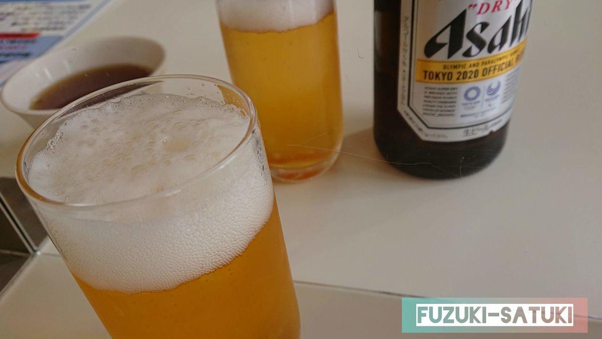 レストラン立山にて、立山連峰を眺めながらのビールは格別。