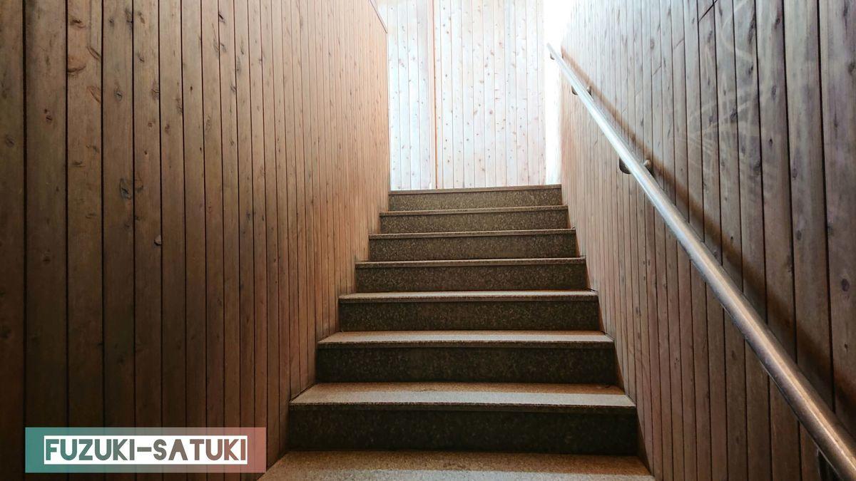 雷鳥荘にある、男湯浴室内の様子。仕切り扉を開け、天然温泉のある浴槽へと細い階段を上る。