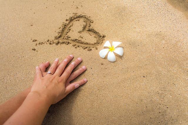 砂浜 ハート