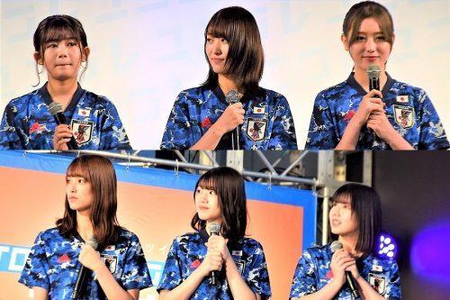 欅坂46、日向坂46メンバーはサッカー日本代表の新ユニホームを着用してステージへ