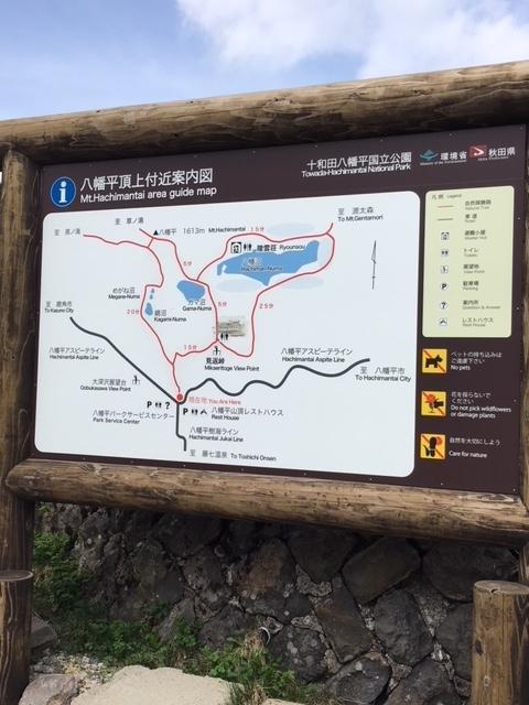 八幡平の登山コースの看板