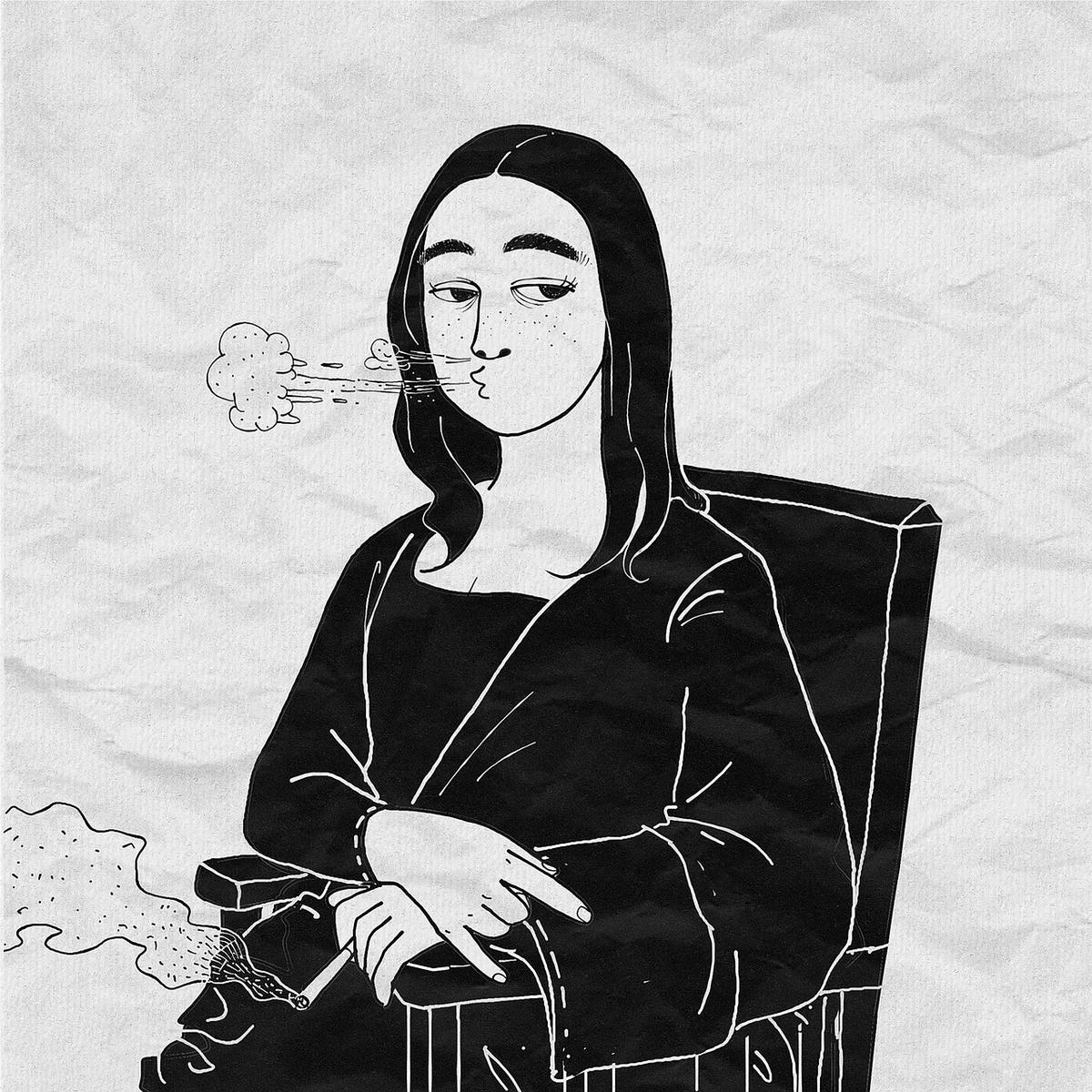 タバコを吸うモナリザ