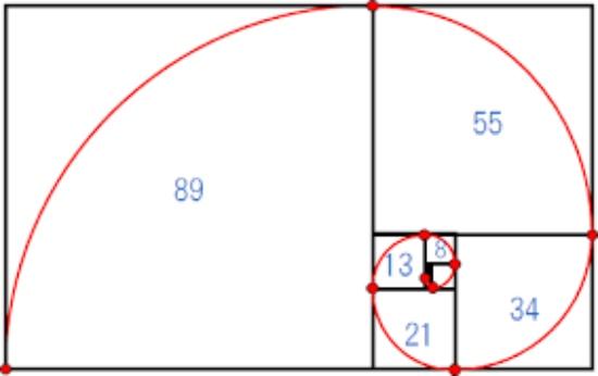 フィボナッチ数列に従った図形