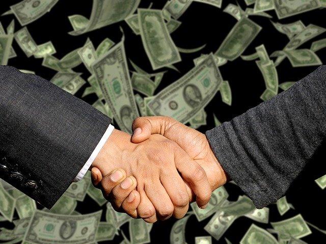 お金,握手