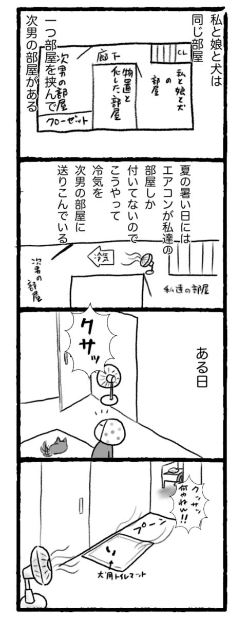 次男の部屋に扇風機を使ってエアコンの冷気を送っている漫画