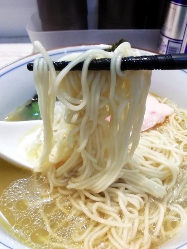 鶏✕貝の塩らーめんの麺